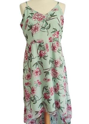 Robe vert d'eau fleurs roses