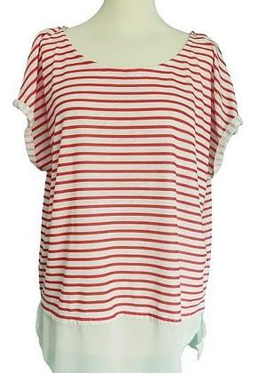 T-shirt rayé rouge et blanc empiècement voile