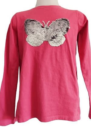 T-shirt ml papillon sequins réversibles