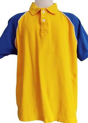 Polo bleu et jaune