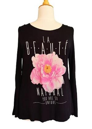 T-shirt manches longues noir fleur rose