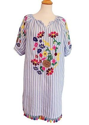 Robe rayée motifs colorés brodés et pompons