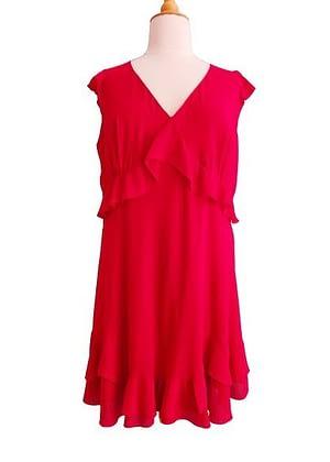 Robe rouge fluide en voile