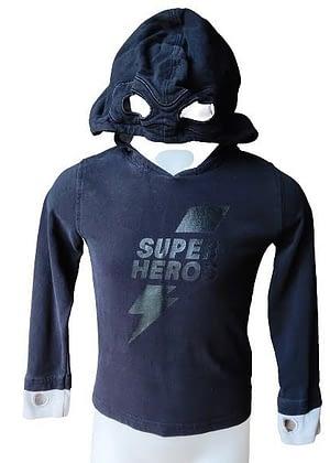 T-shirt noir capuche de Super Héros
