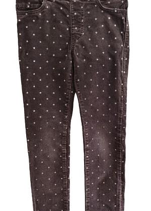 Pantalon en velours étoiles argentées