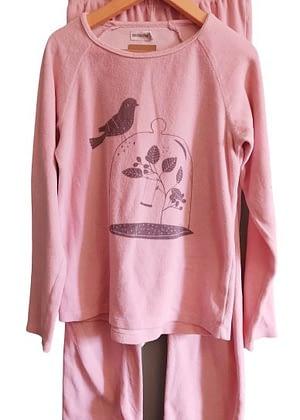 Pyjama en velours rose oiseaux