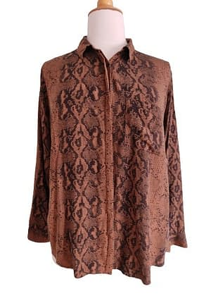 Chemisier marron motif animal