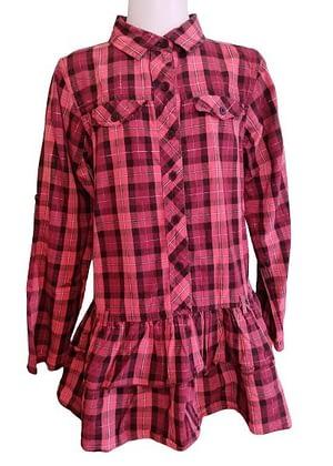 Chemise longue à carreaux tons rose