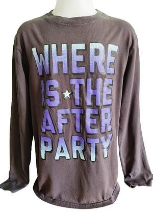 T-Shirt gris avec inscription en dégradé de violet