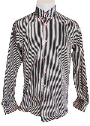 Chemise vichy noir et blanc avec détail rose