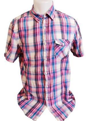 Chemise à carreaux rose et bleu