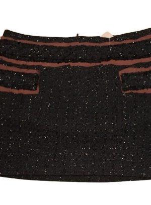 Mini jupe en lainage noir Morgan