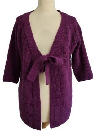 Gilet violet à nouer laine et alpaga
