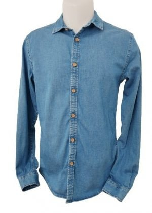 Chemise en jean boutons en bois