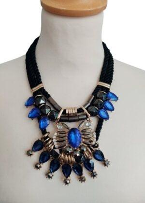 Collier corde perles et strass