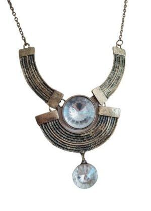 Collier fantaisie aspect or vieilli et perles