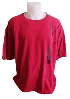 T-shirt rouge impression grise et noire