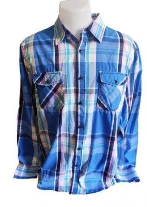 Chemise fine à carreaux poches poitrine