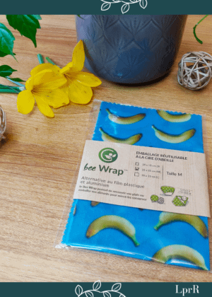 Bee Wrap (emballage alimentaire en cire d'abeille) en tissu upcyclé – Taille. M