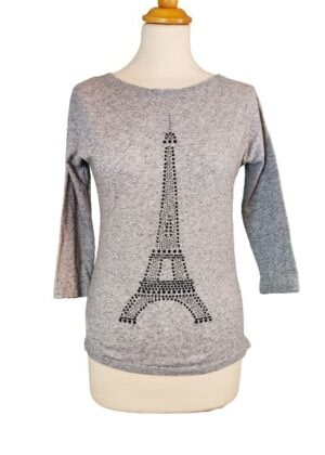 T-shirt manche longue 3/4 gris tour Eiffel