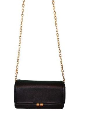 Clutch noir avec chaine dorée Galeries Lafayette