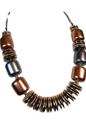 Collier grosses perles couleur argent et bronze